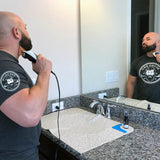 Easy Clean Up Groom Mat- Sink Saver - Beard Bro LLC , beard trimming mat, beard grooming, beard model, beard care, hair trimming mat, beard bib, hair care, mens beard kit.