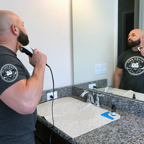 NEW! Groom Mat- No More Hair Filled Towels with Blue Beard Shaping Tool - Beard Bro LLC