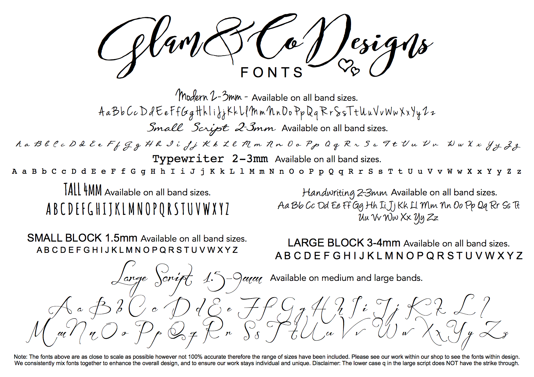 Glam and Co Font List