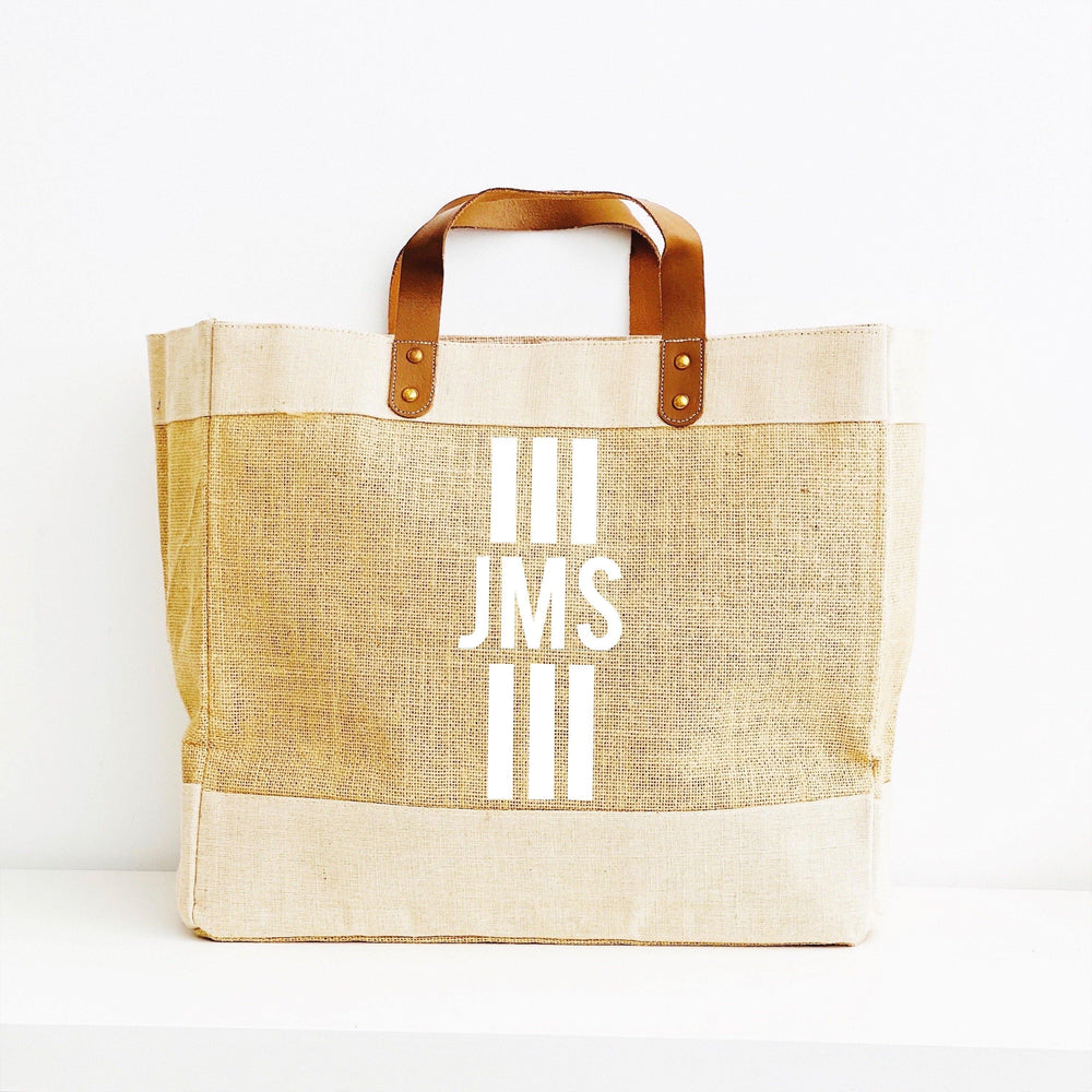 Personalised Jute Tote Shopping Bag - Monogram Tote Bag