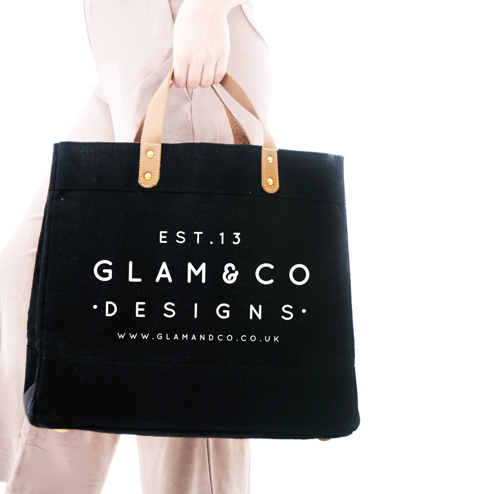 Logo Tote Bag | Black Personalised Bag | Personalised Shopping Bag - Glam & Co Designs Ltd
