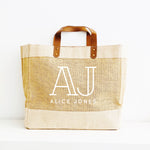 Personalised Jute Tote Bag - Custom name and initials