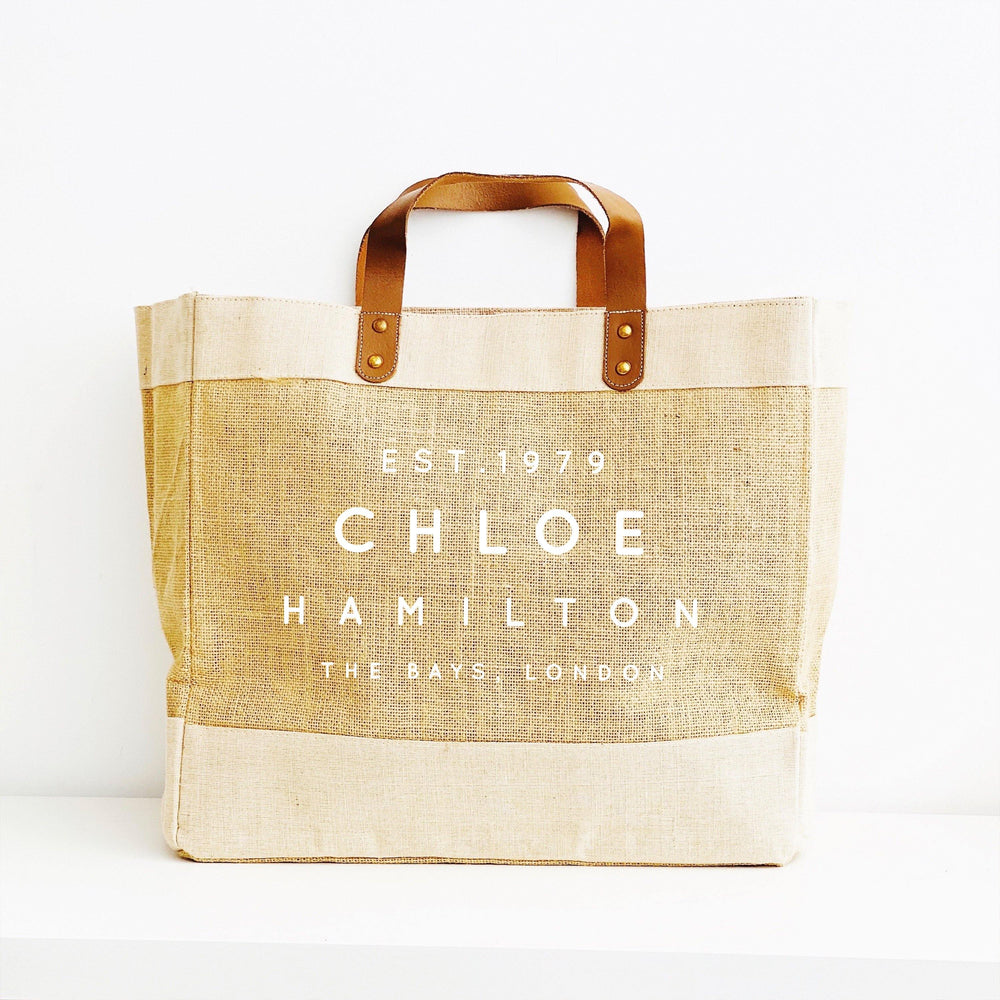 Personalised Jute Tote Shopping Bag | Personalised Bag Name Place and Date