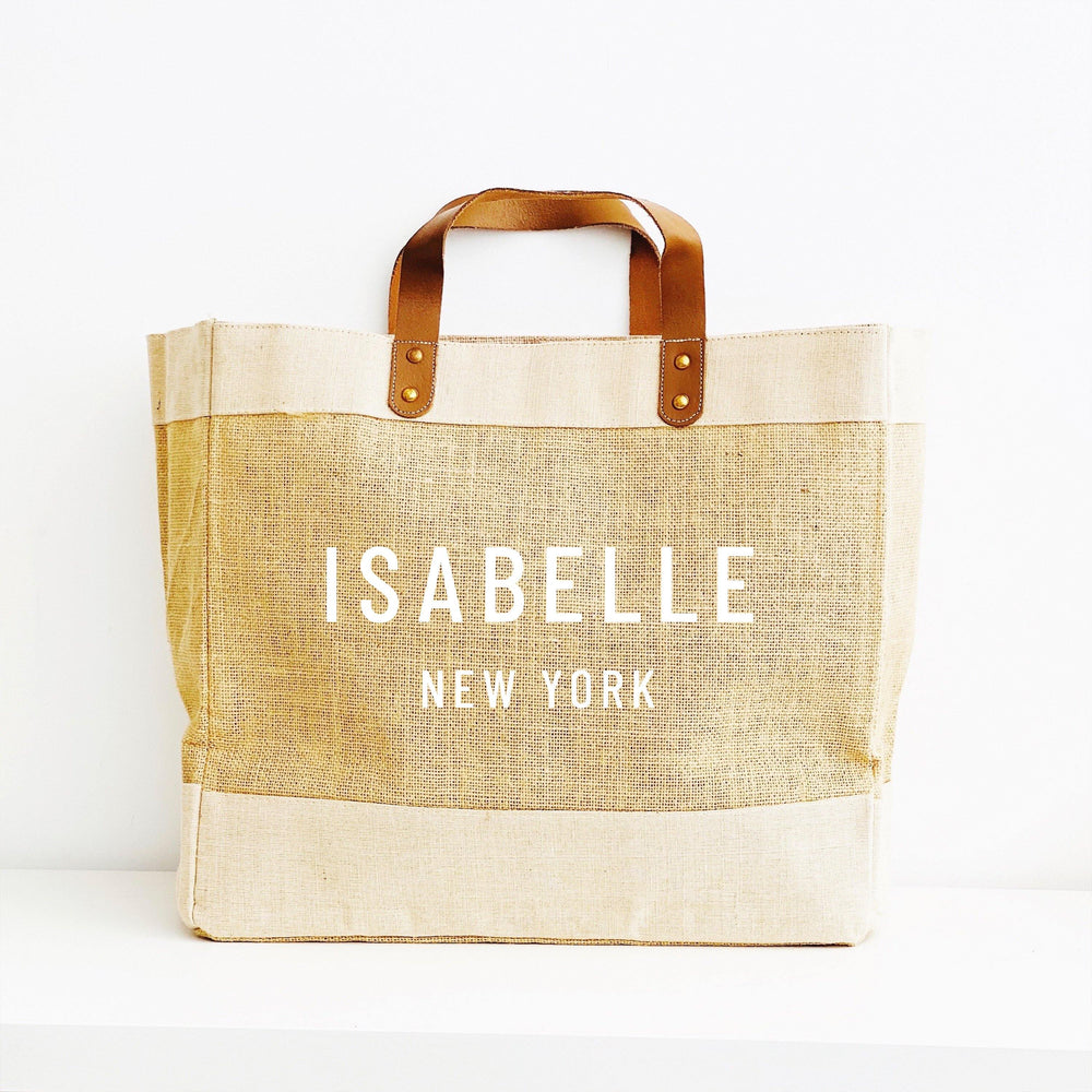 Personalised Jute Tote Shopping Bag | Custom Name and Place Bag