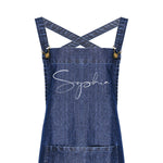 Personalised Denim Barista Style Apron for Men and Women - Glam & Co Designs Ltd