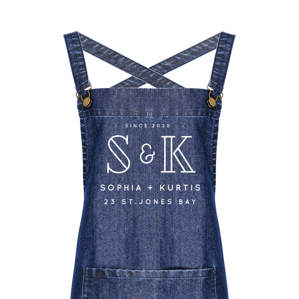 Personalised Denim Barista Style Apron | Aprons for Men and Women | His and Hers Aprons - Glam & Co Designs Ltd