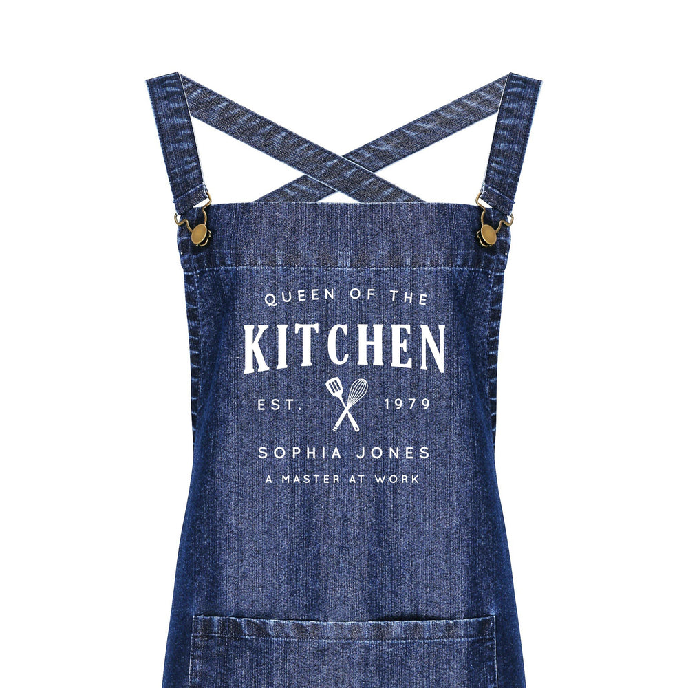 Personalised Barista Style Aprons | Queen of the Kitchen - Glam & Co Designs Ltd