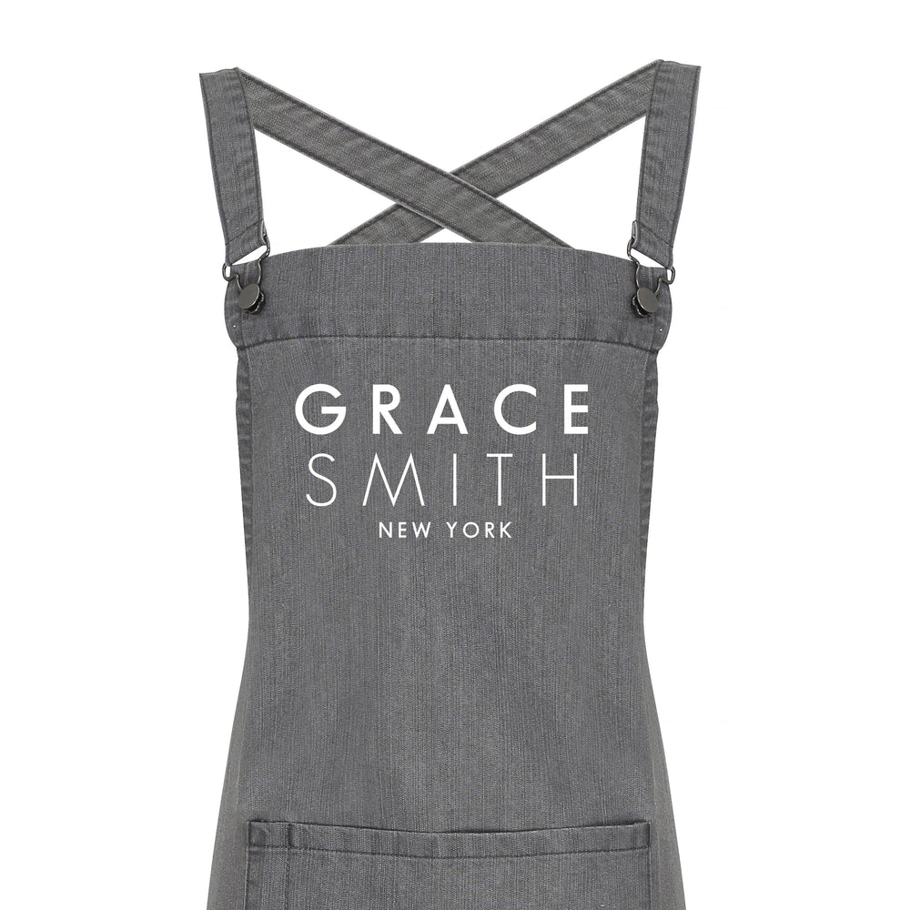 Personalised Denim Barista Style Apron | Aprons for Men and Women - Glam & Co Designs Ltd