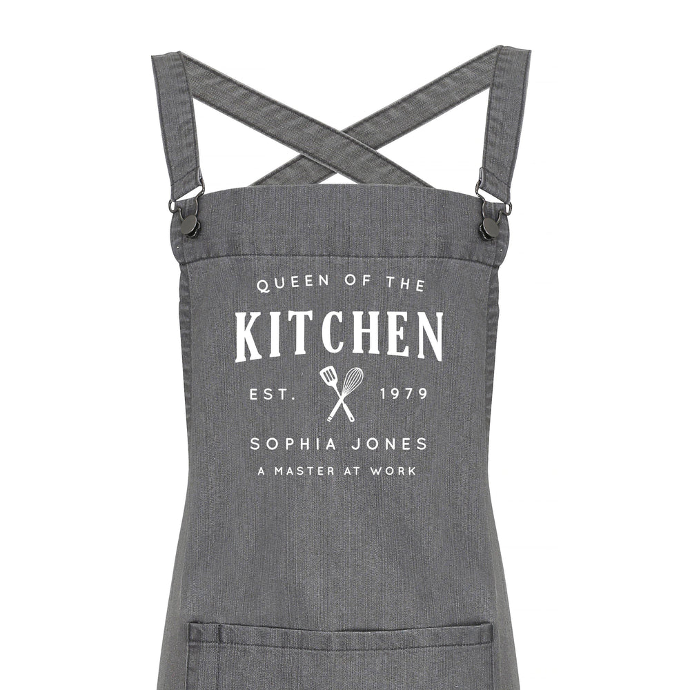 Personalised Barista Style Apron - Queen of the Kitchen