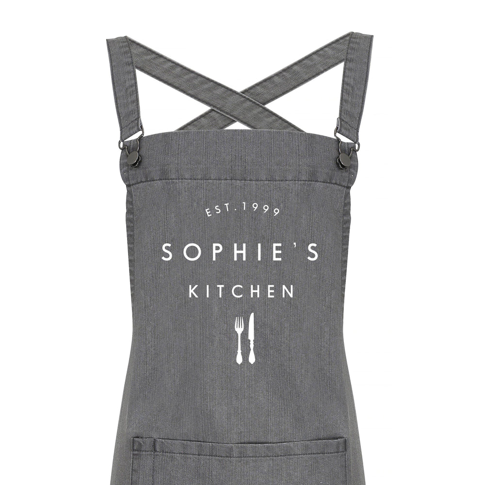 Personalised Denim Barista Style Apron | Kitchen Apron for Men and Women - Glam & Co Designs Ltd