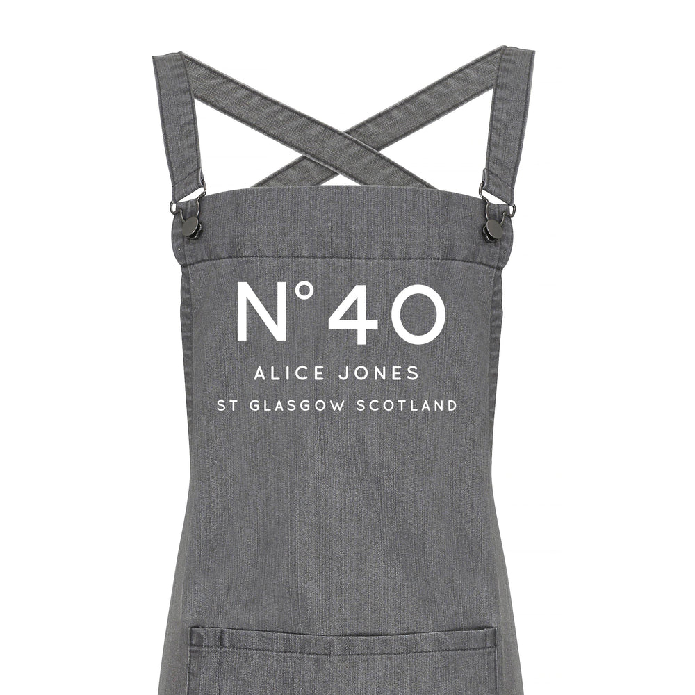 Personalised Denim Barista Style Apron | Birthday No. Aprons - Glam & Co Designs Ltd
