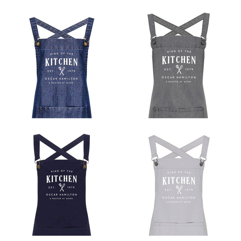 Personalised Barista Aprons | King of the Kitchen Apron - Glam & Co Designs Ltd