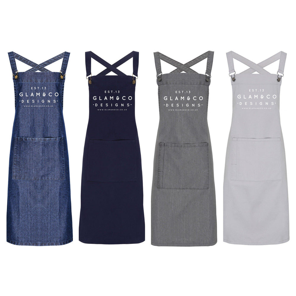 Personalised Denim Barista Style Apron | Aprons for Men and Women | Est Date - Glam & Co Designs Ltd