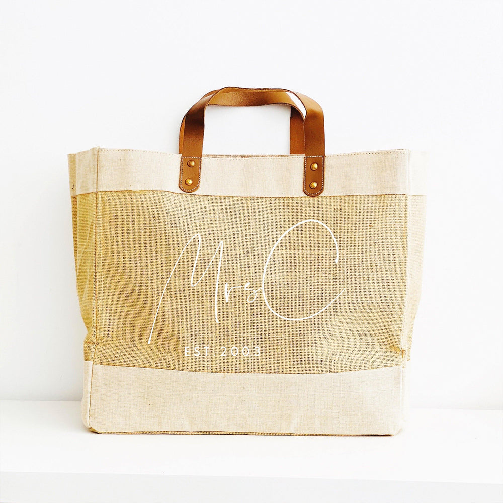 Personalised Jute Tote Bag | Mrs Bag