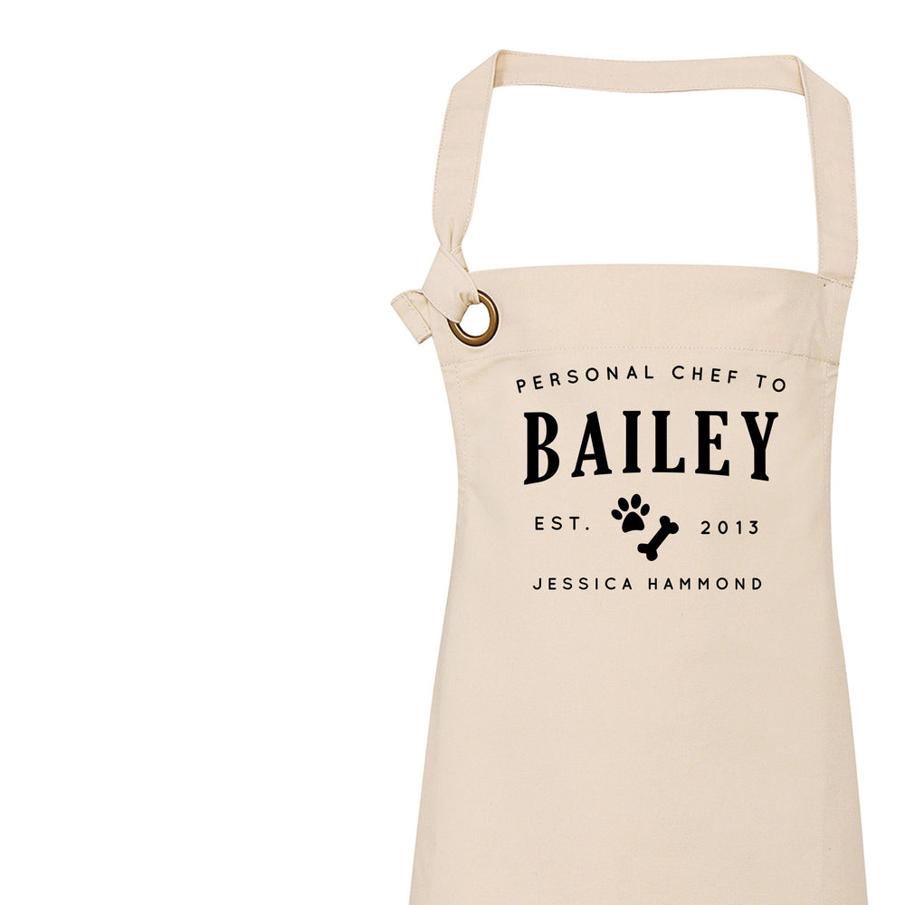 Dog Lover Apron, Personalised Aprons for Him and Her, Personal Chef to - Glam & Co Designs Ltd