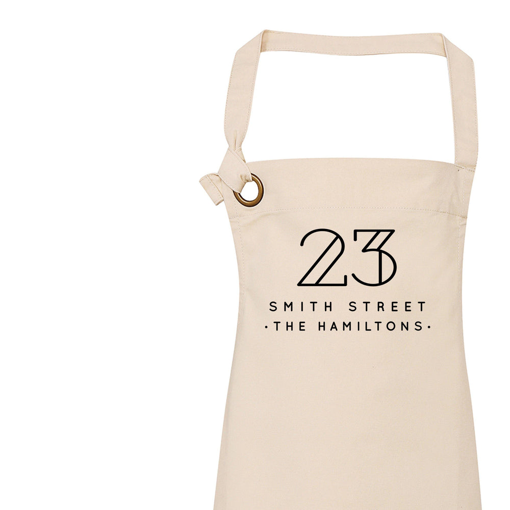 Personalised Apron | Aprons for Women and Men | Address and Surname - Glam & Co Designs Ltd