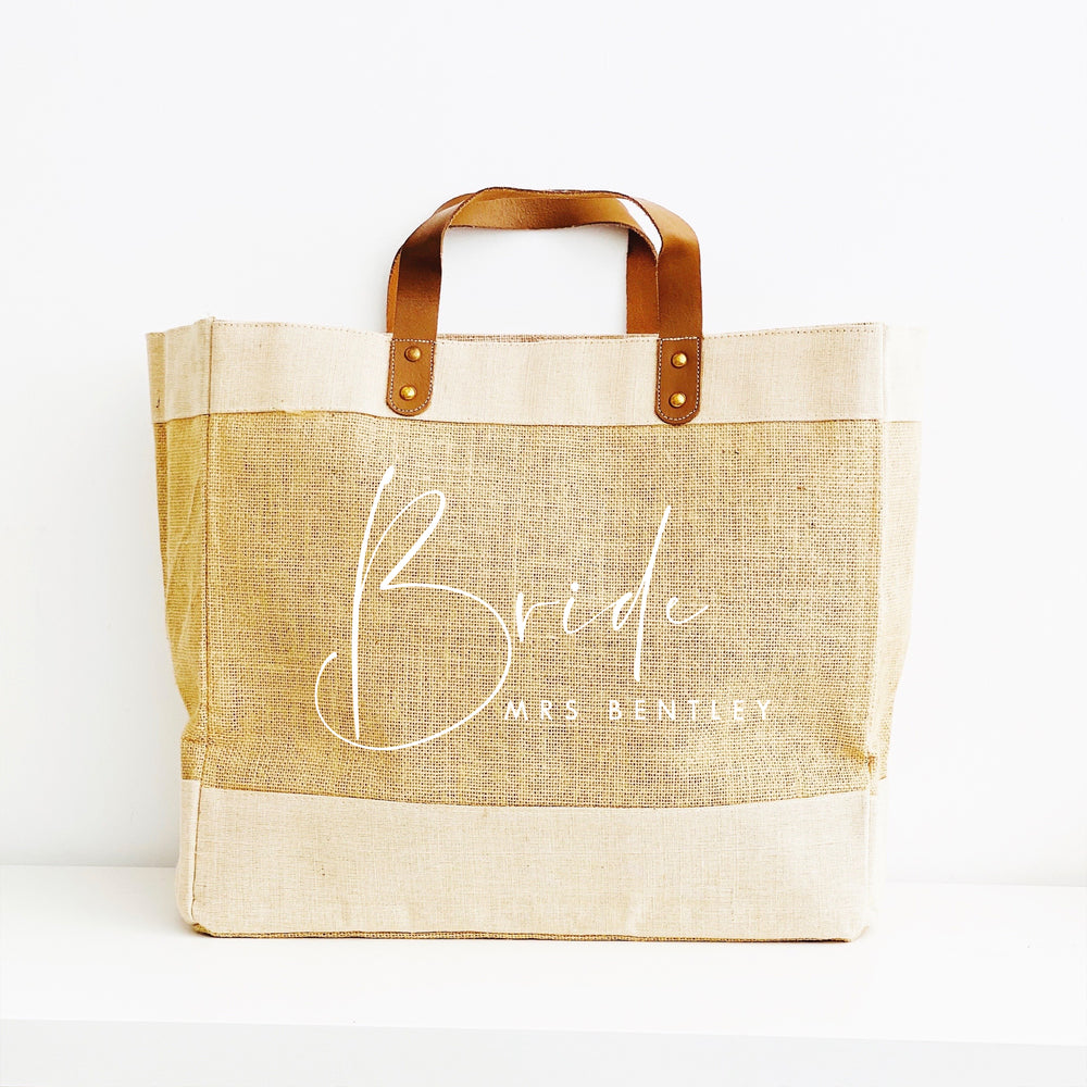 Personalised Jute Tote Shopping Bag - Bride