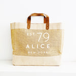 Personalised Jute Tote Bag - Custom name date and place