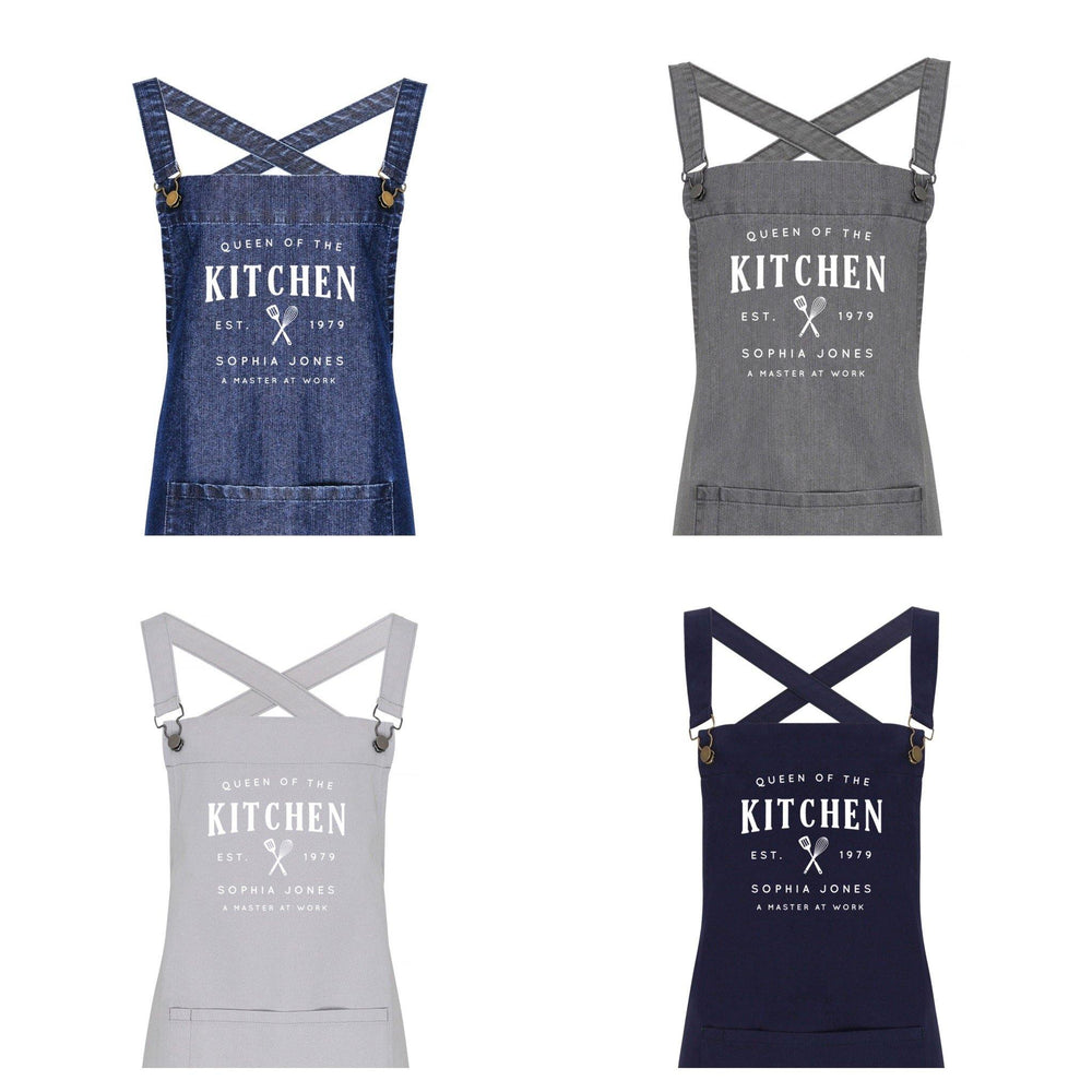 Personalised Barista Style Apron | Queen of the Kitchen - Glam & Co Designs Ltd