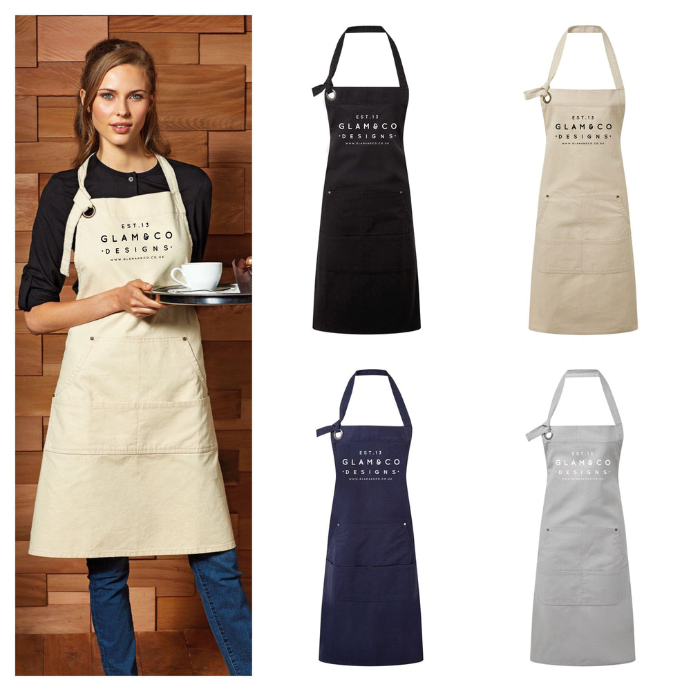 Logo Design Apron | Aprons for Women | Aprons for Men | Logo Apron - Blue Apron - Glam and Co