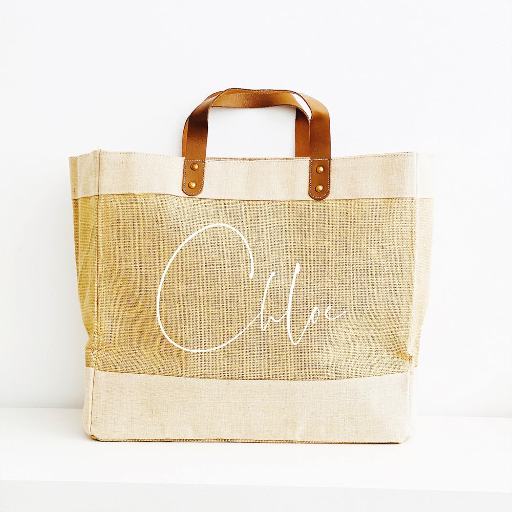 Personalised Jute Tote Bag - Custom Name