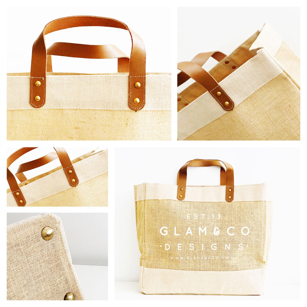 Personalised Jute Tote Bag - Custom Name Date and Place - Glam & Co Designs Ltd