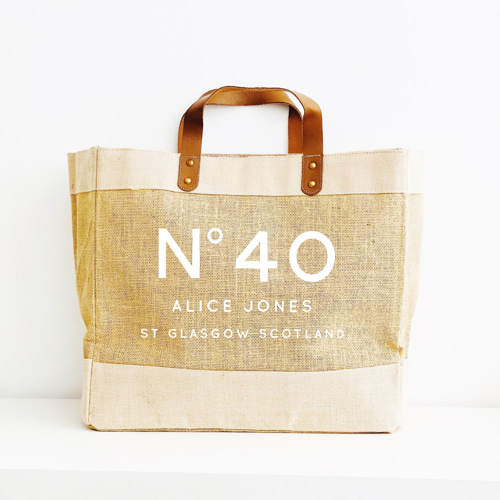Personalised Jute Tote Bag - 40th Birthday Bag