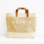 Personalised Jute Tote Shopping Bag | Name and Co-Ordinates