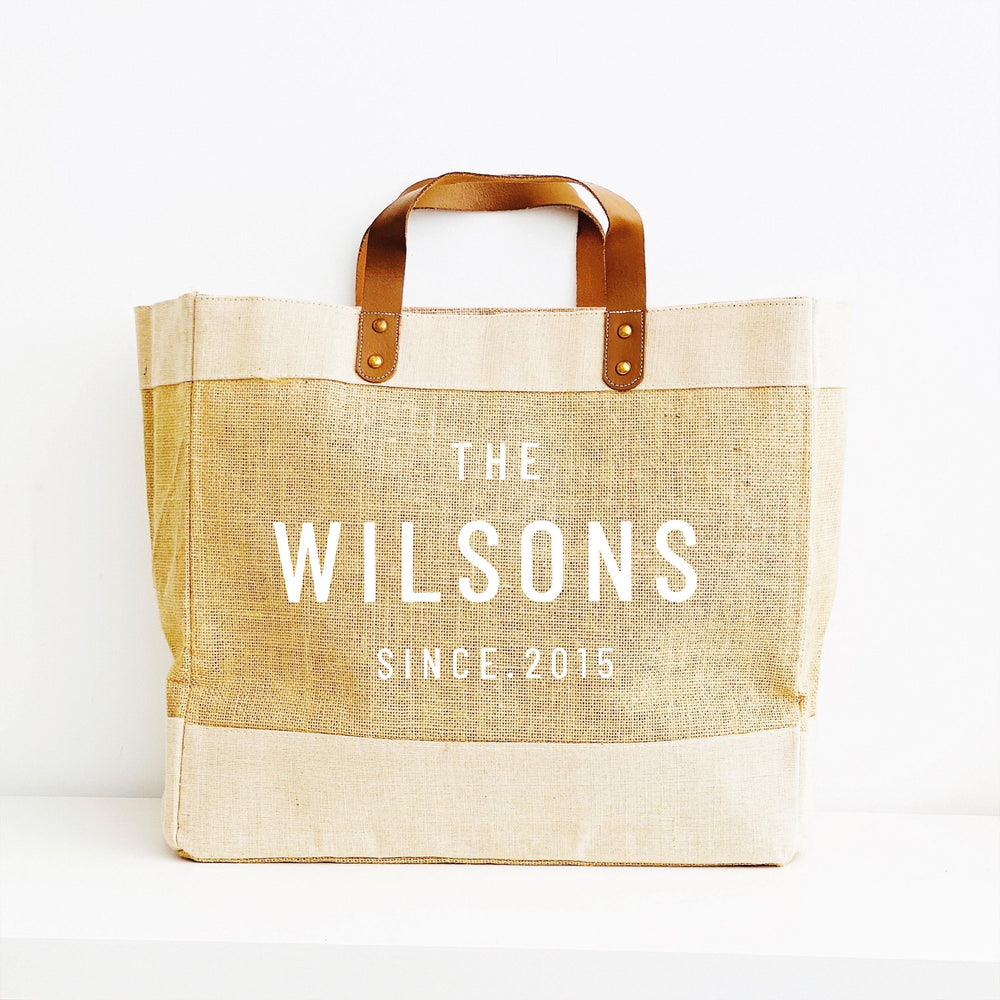 Personalised Jute Tote Shopping Bag | Family Name Shopper
