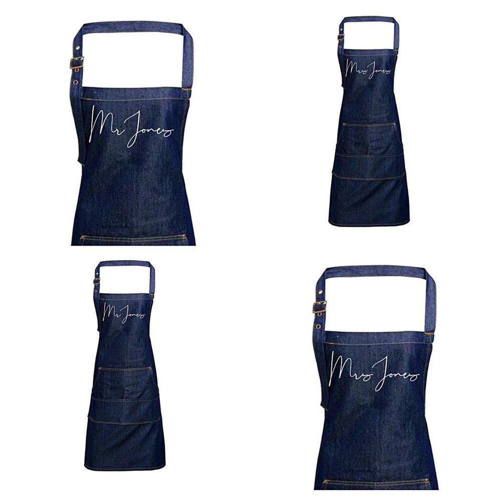 Mr and Mrs Gift Ideas | Personalised Denim Apron | Personalised Apron for Mr and Mrs | Gift ideas for Weddings | Him and Her Gift Ideas - Glam & Co Designs Ltd