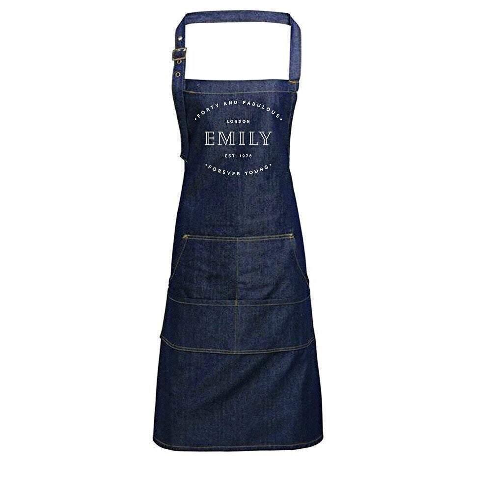 Personalised Denim Apron | Vintage Style Custom Apron | Forty and Fabulous Gift Ideas | 40th Birthday Gift Ideas | Personalised Apron