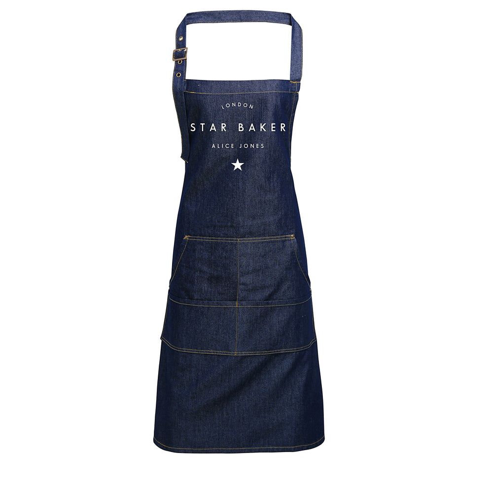 Personalised Denim Apron | Star Baker Apron | Aprons for Men | Aprons for Women | Personalised Apron | Vintage Style Apron | Denim Apron - Glam & Co Designs Ltd