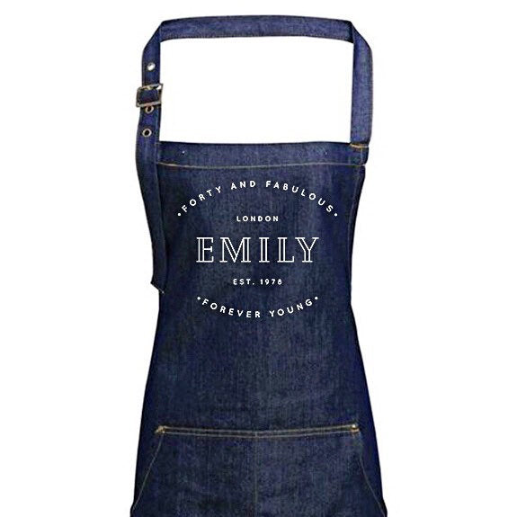 Personalised Denim Apron | Vintage Style Custom Apron | Forty and Fabulous Gift Ideas | 40th Birthday Gift Ideas | Personalised Apron - Glam & Co Designs Ltd