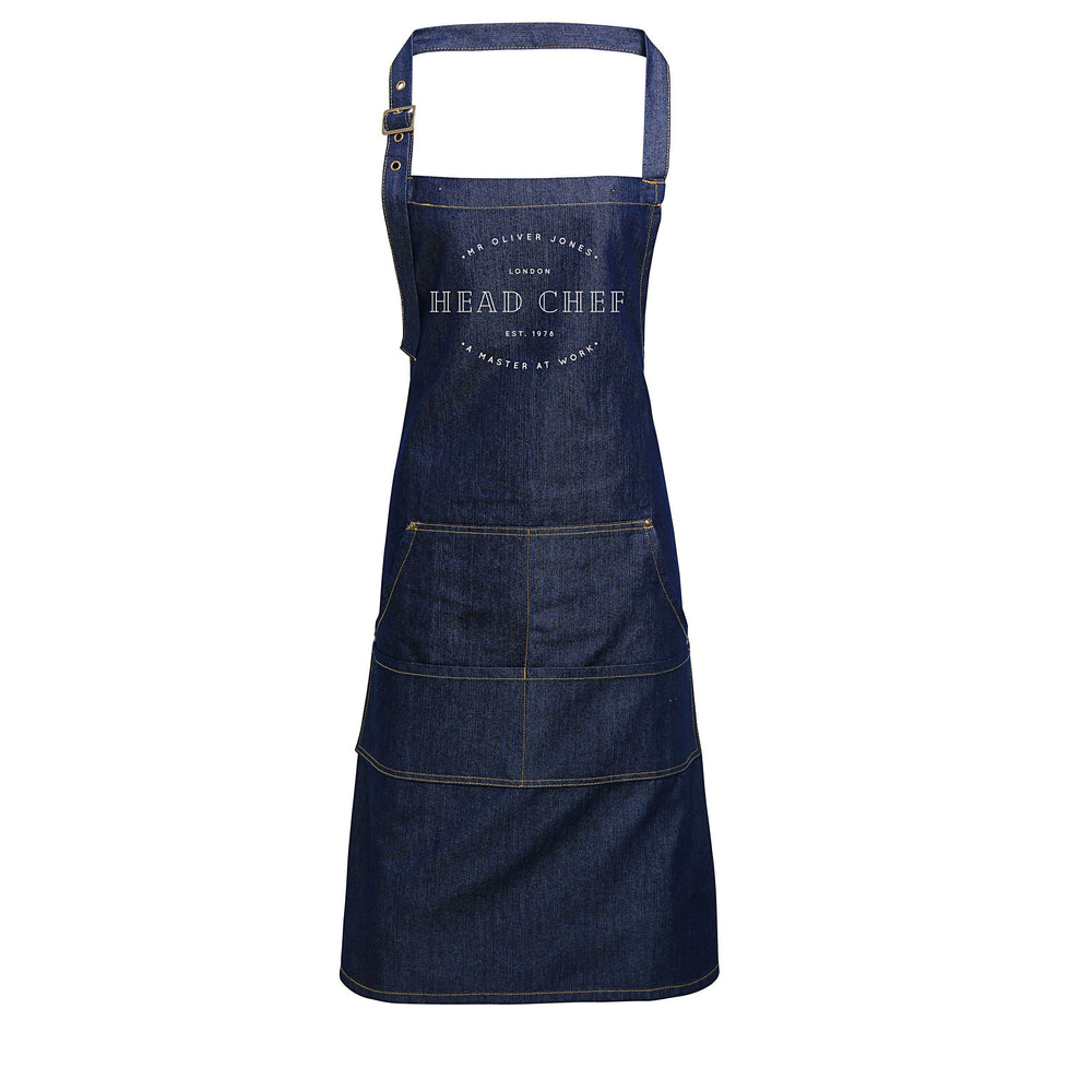 Personalised Denim Aprons | Head Chef Apron | Aprons for Men | Custom apron for Her | Personalised Apron | Aprons for Women | Denim Apron
