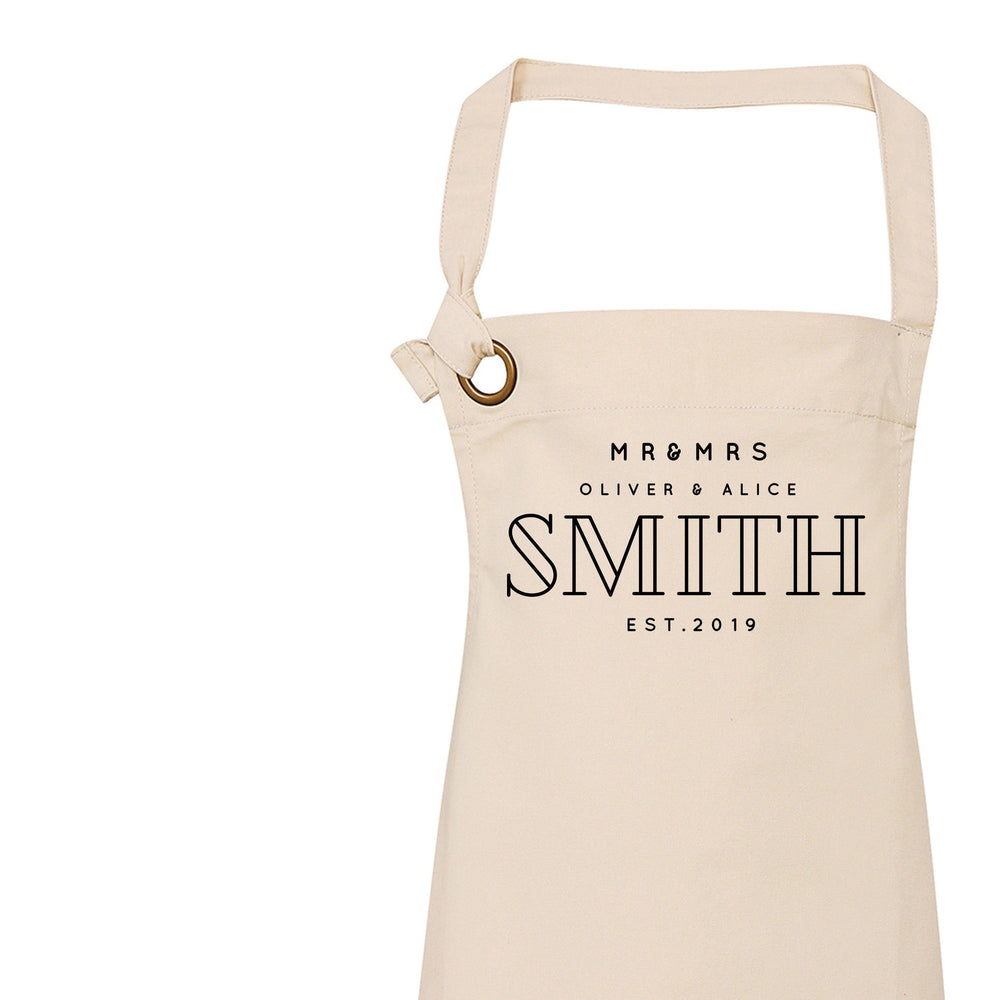 Personalised Aprons | Custom apron for Mr and Mrs - Glam & Co Designs Ltd
