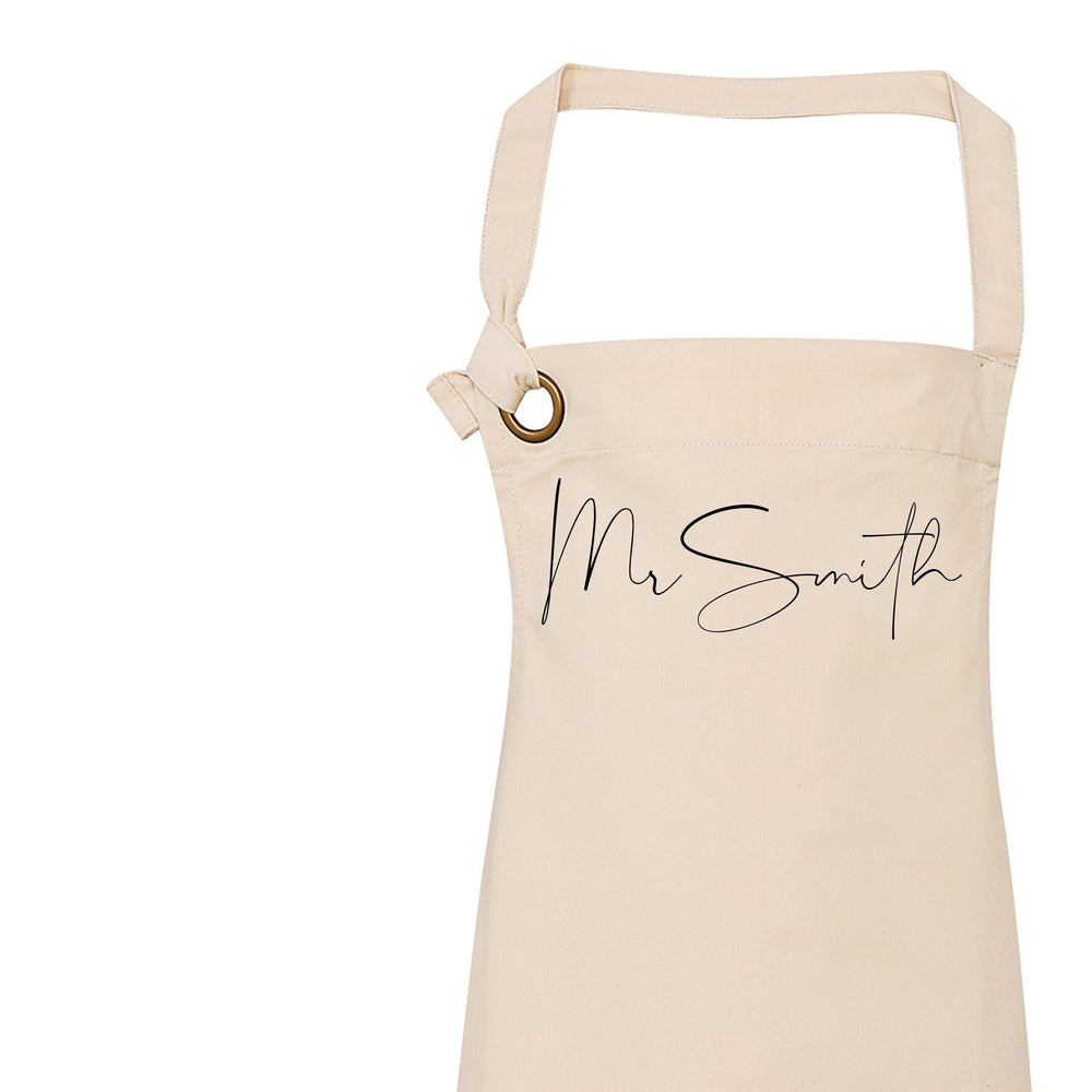 Mr and Mrs Gift Ideas | Personalised Apron | Personalised Apron for Mr and Mrs | Gift ideas for Weddings | Him and Her Gift Ideas - Glam & Co Designs Ltd
