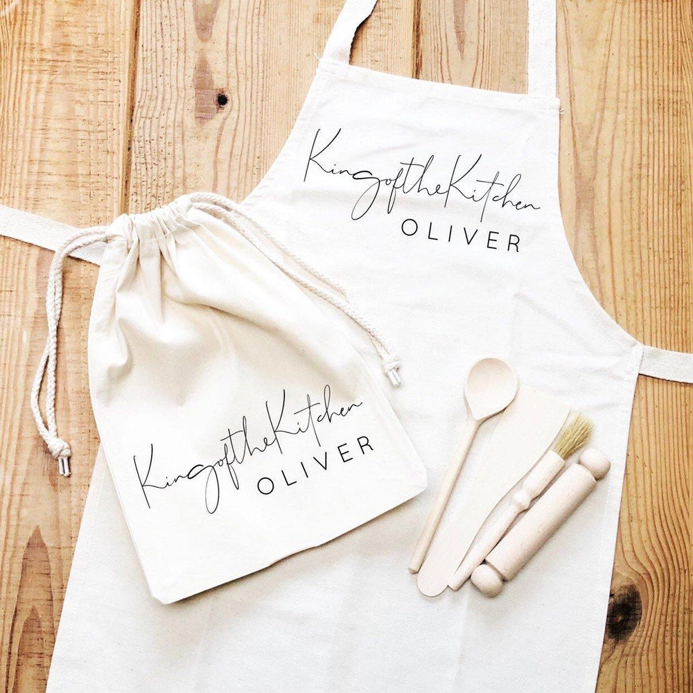 Kids Baking Set | Queen of the Kitchen | Aprons for Kids | Kids Baking Apron | Personalised Kids Baking Set | Personalised Kids Apron - Glam & Co Designs Ltd