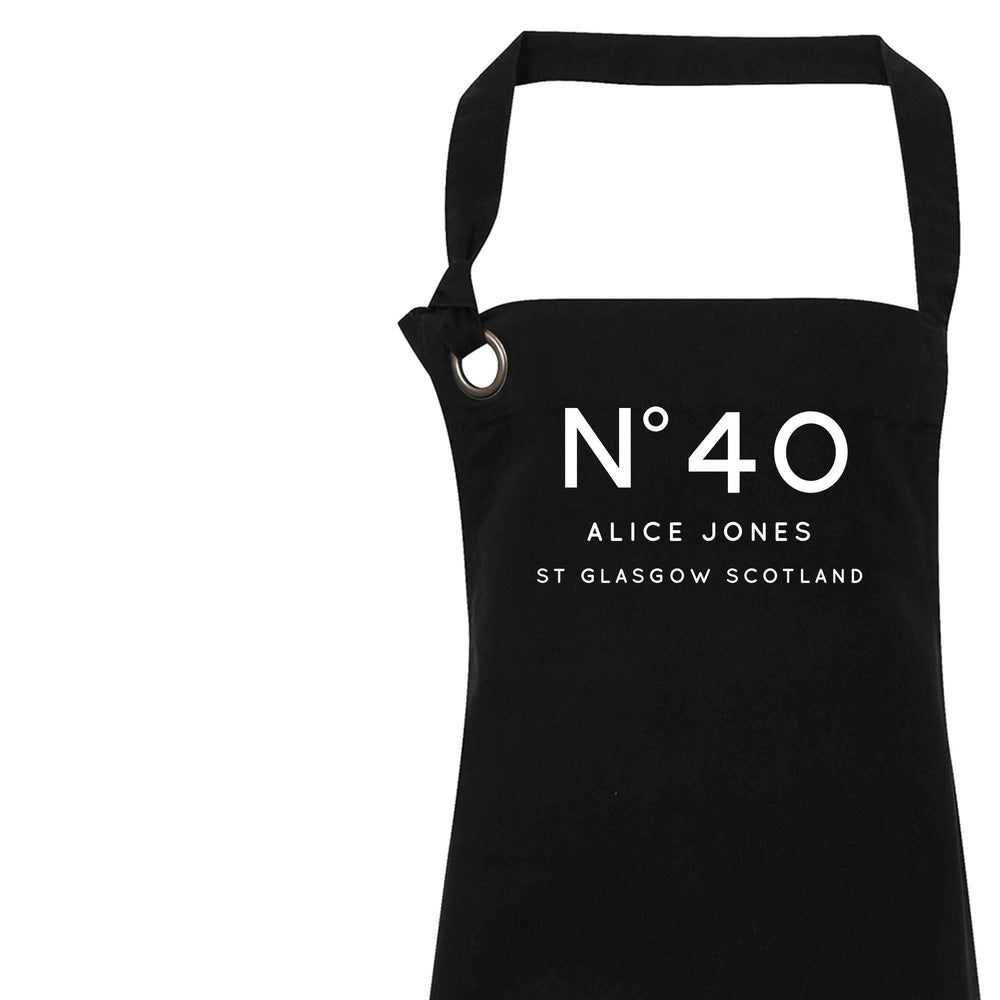 Personalised Apron | Aprons for Women | 40th Birthday Gift Ideas | Chic Apron | Custom Apron for Her | Personalised Cook | Black Apron - Glam & Co Designs Ltd