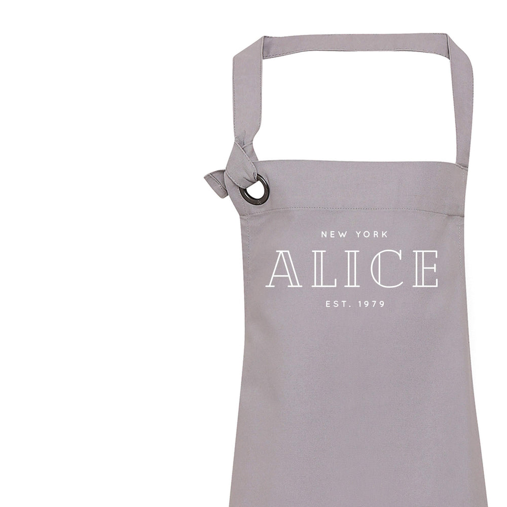 Personalised Apron | Aprons for Women | Vintage Apron | Retro Apron | Custom Apron for Women | Personalised Cook Gift | Grey Apron - Glam & Co Designs Ltd