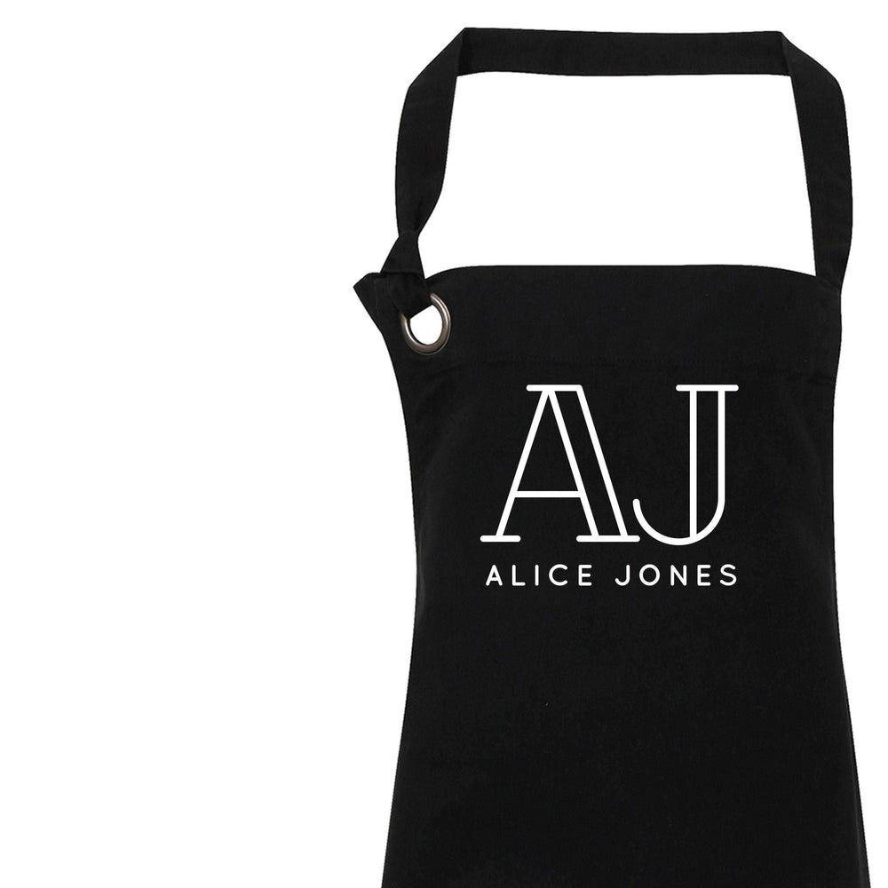 Personalised Apron | Aprons for Men and Women | Vintage Apron | Retro Apron | Custom Apron for Him and Her | Personalised Cook | Black Apron - Glam & Co Designs Ltd