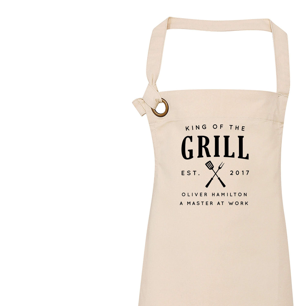 Aprons for Men | Personalised Apron | Custom Apron | Vintage Style Personalised Apron | King of the Grill | Homeware Gift Ideas - Glam & Co Designs Ltd