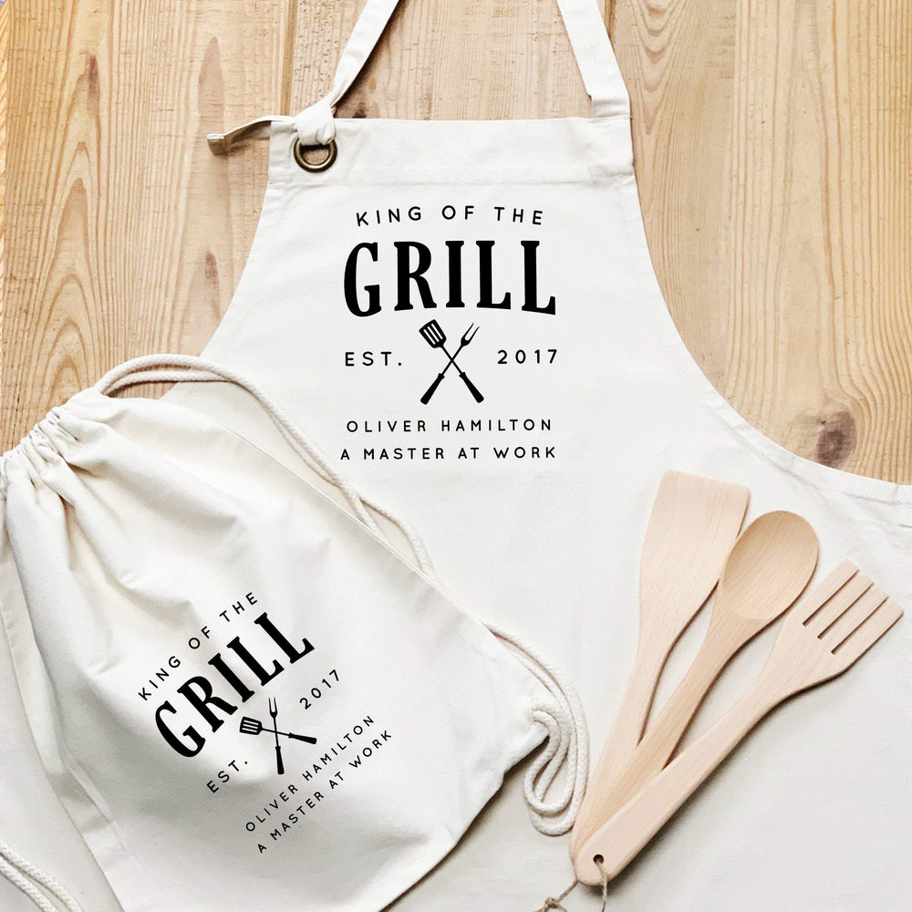 Personalised Apron Set | Aprons for Men | King of the Grill | Personalised Adults Apron Set | Personalised Chef Set |Personalised Cook Set - Glam & Co Designs Ltd