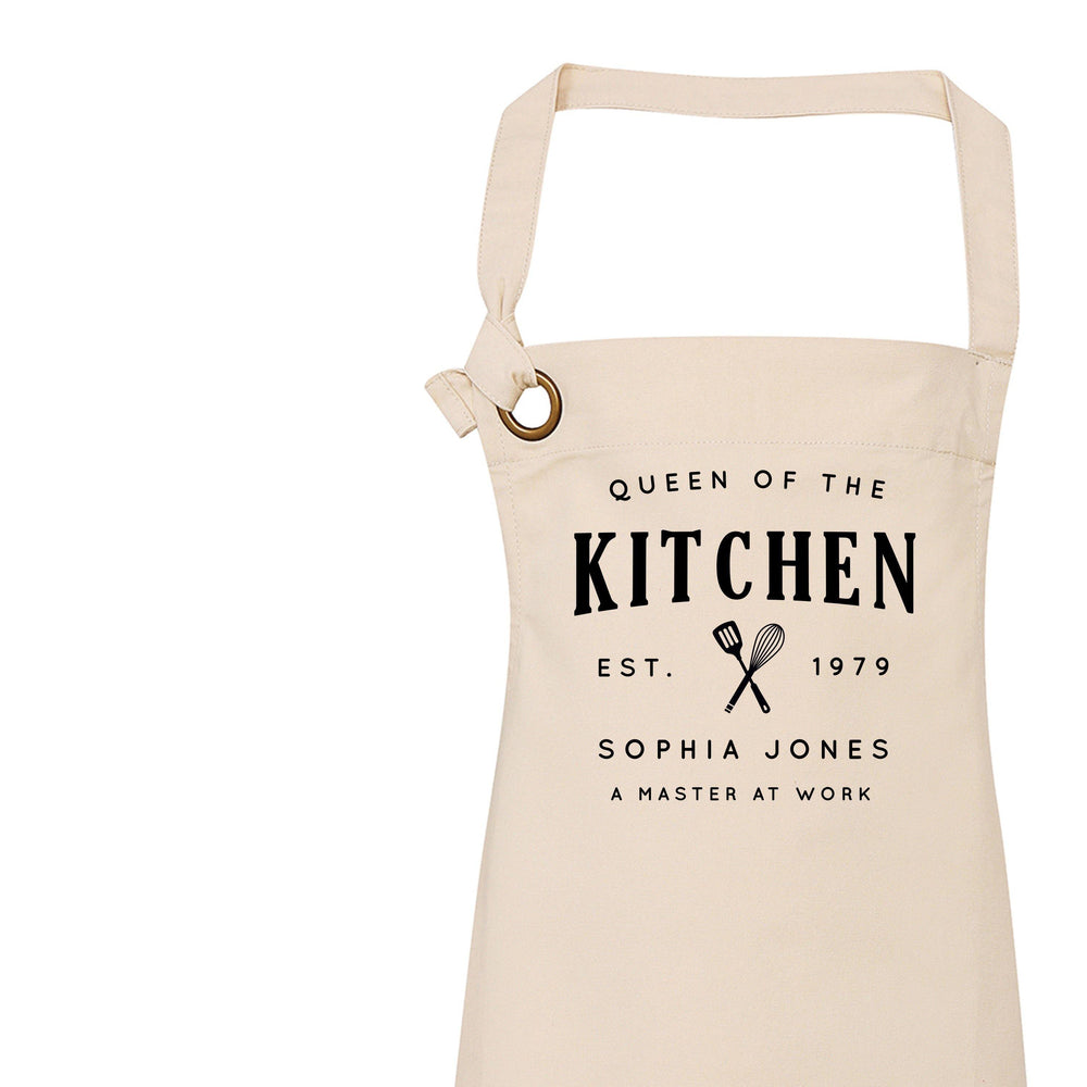 Aprons for Women | Queen of the Kitchen | Personalised Apron | Custom Apron | Vintage Style Personalised Apron | Homeware Gift Ideas