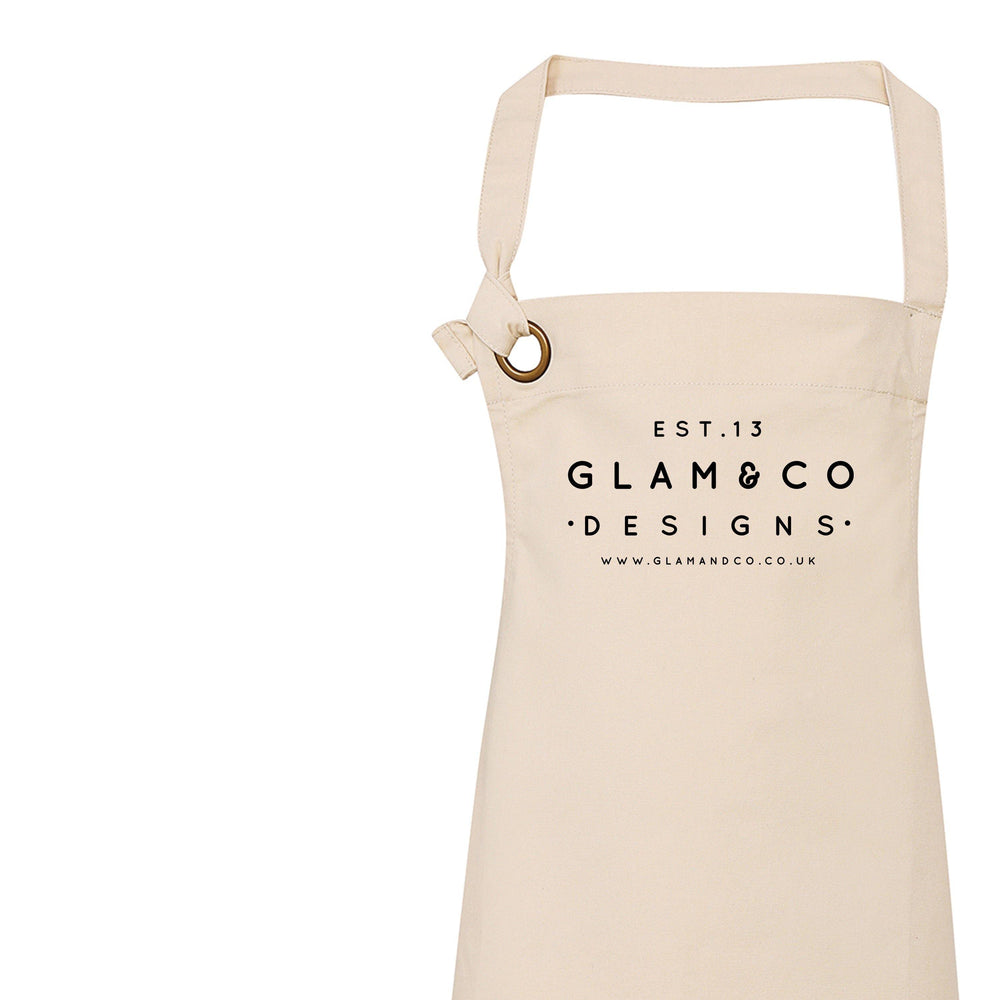Personalised Apron | Logo Design Apron | Aprons for Women | Aprons for Men | Vintage Apron | Retro Apron | Corporate Gifts | Design your own - Glam & Co Designs Ltd
