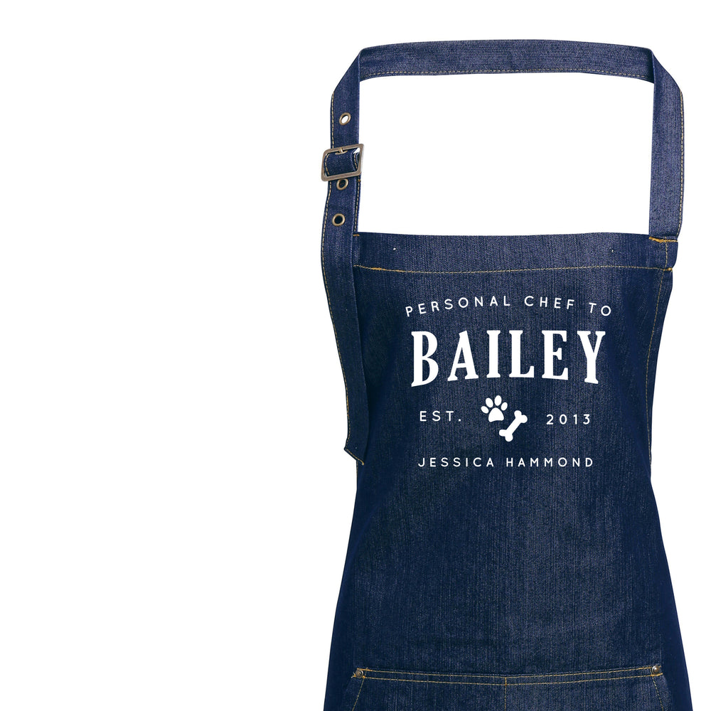 Personalised Denim Apron | Dog Lovers Gift Ideas | Aprons for Women | Personal Chef Apron | Vintage Style Custom Apron | Personalised Apron