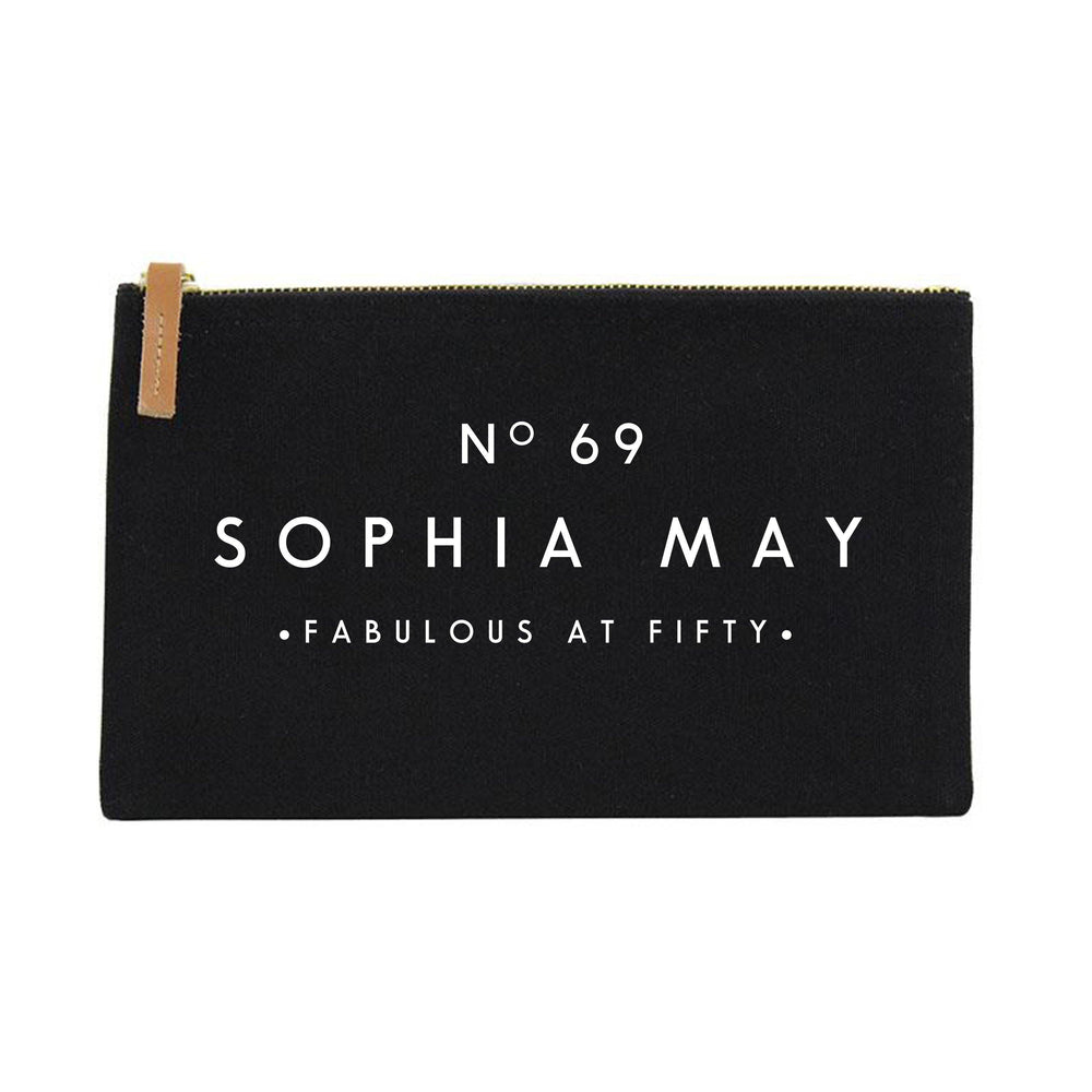 Fifty and Fabulous Gift Ideas | 50th Birthday Gift | Personalised Makeup Bag | Custom Makeup Bag | Birthday gift ideas for her | 50th Gift - Glam & Co Designs Ltd