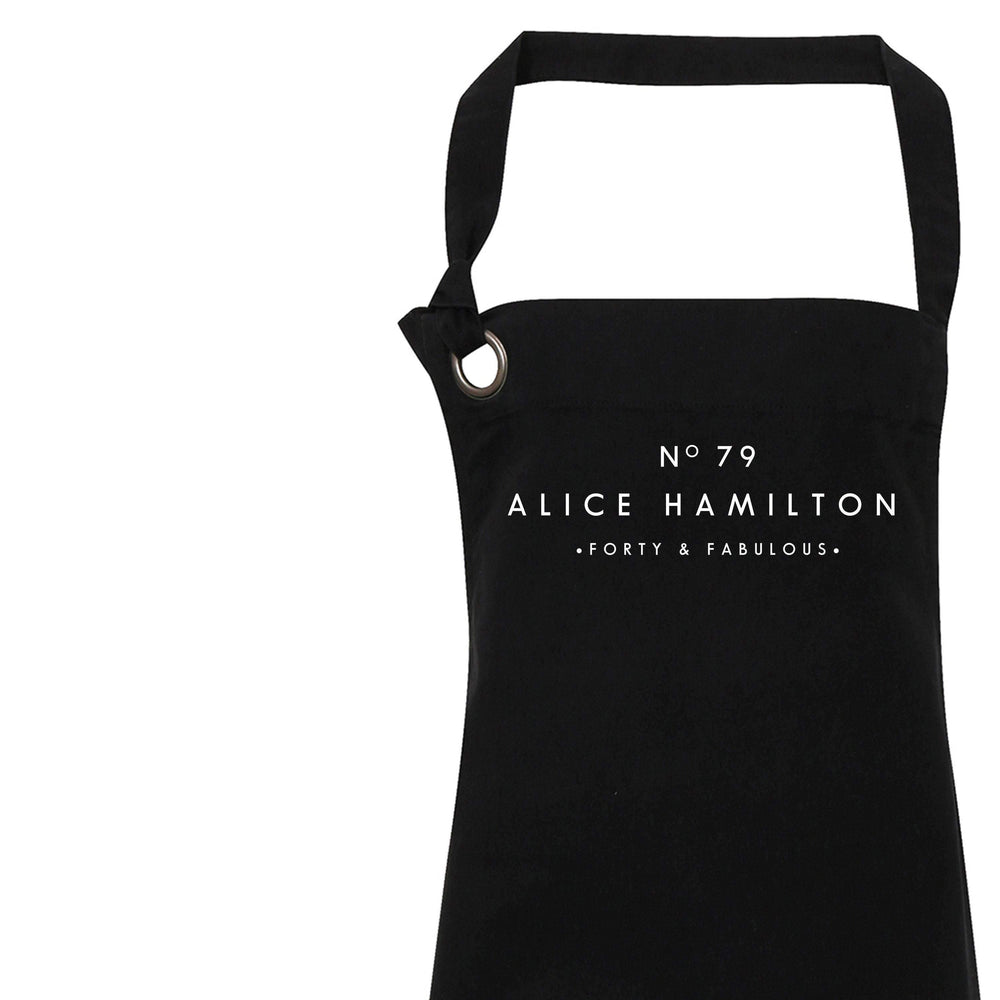 Personalised Apron | Aprons for Women | 40th Birthday Gift Ideas | 40th Birthday | Custom Apron for Her | Personalised Cook | Black Apron - Glam & Co Designs Ltd