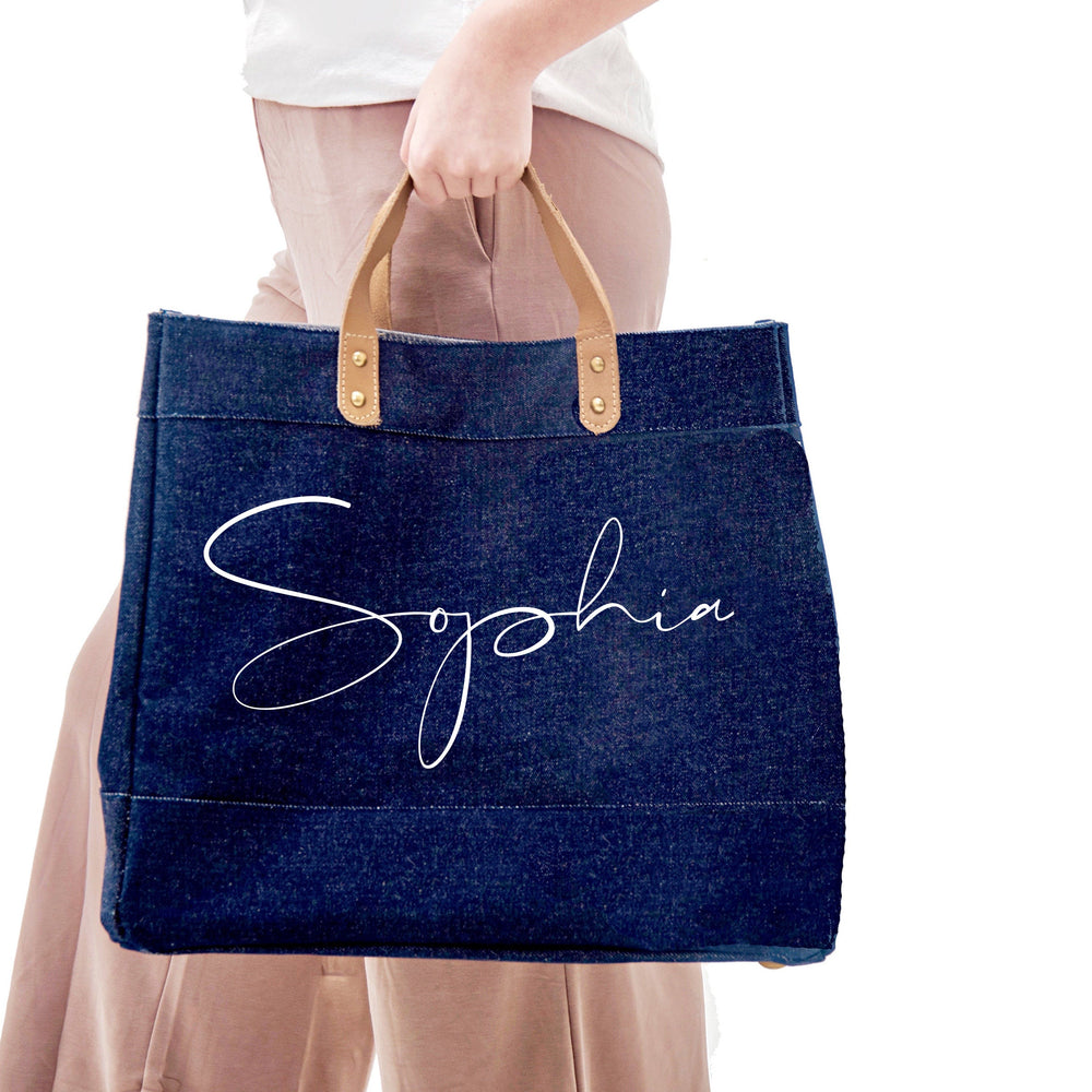 Personalised Denim Bag | Custom Denim Tote Bag | Personalised Shopping Bag | Gift ideas for Her | Custom Bag | Custom Denim Shopping Bag - Glam & Co Designs Ltd