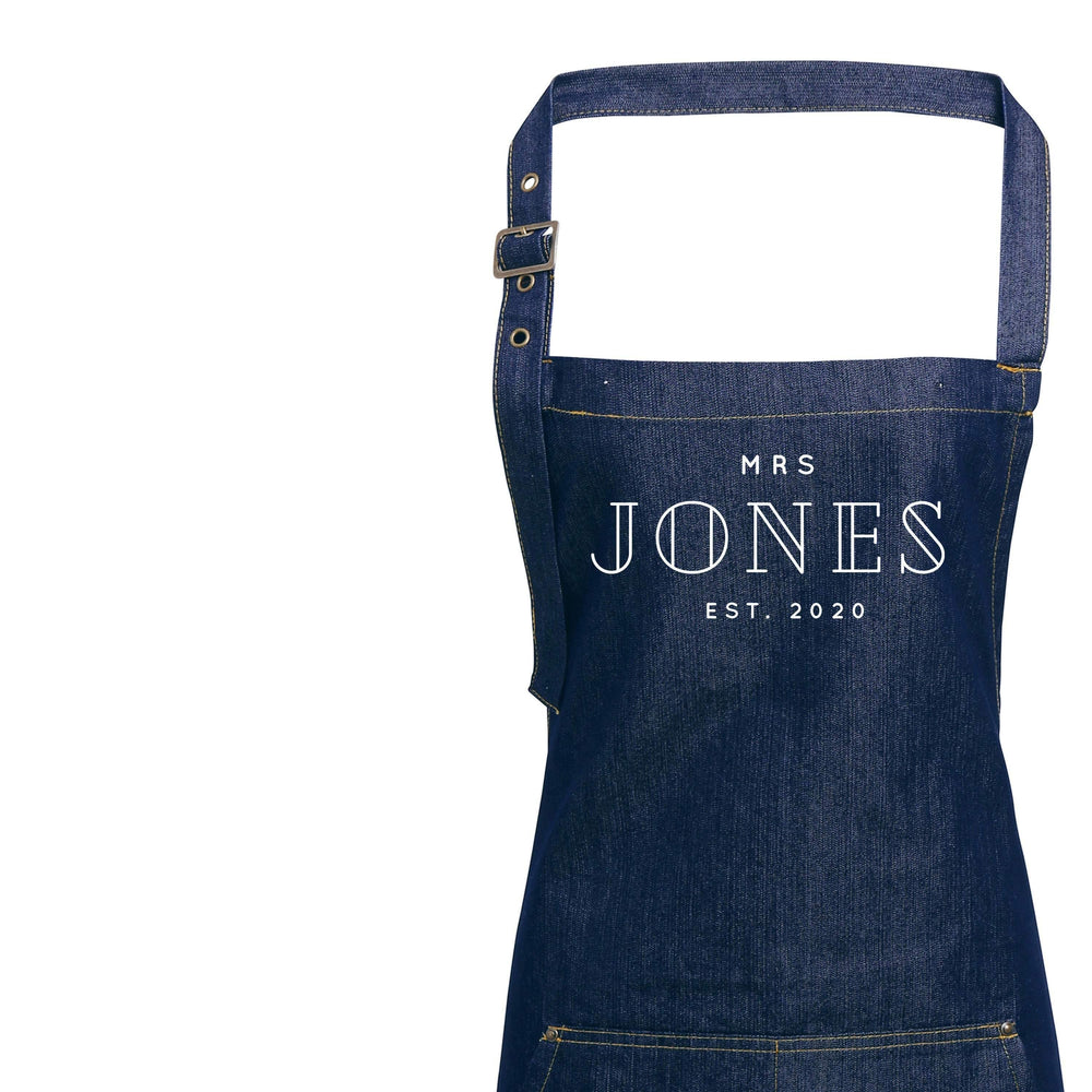 Mr and Mrs Gift Ideas | Personalised Denim Apron | Personalised Apron for Mr and Mrs | Gift ideas for Weddings | Him and Her Gift Ideas
