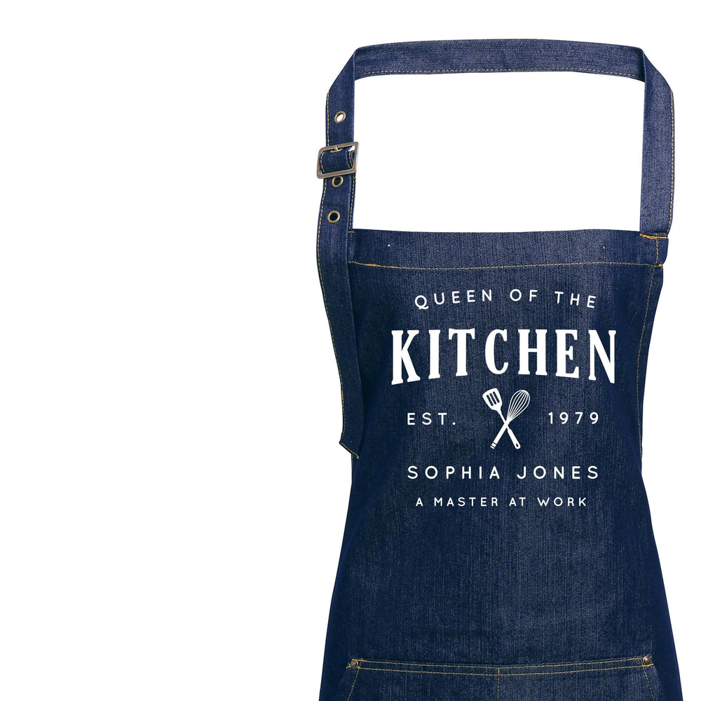 Personalised Denim Aprons | Queen of the Kitchen Apron | Aprons for Women | Custom apron for Her | Personalised Apron | Custom Denim Apron